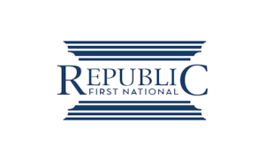 Republic First National Blue Lettering